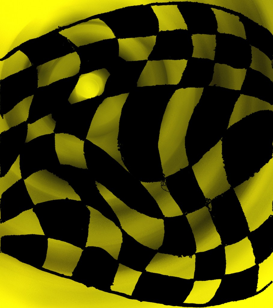 Yellow warped checkerboard from Nickel and Dime Checkerboard book by Sarah Curtiss