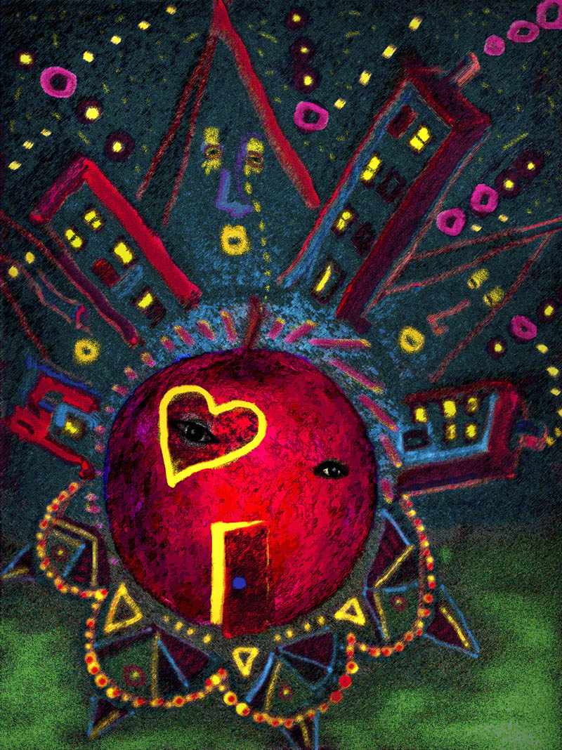 Abstract image with big apple representing infinite diversity from Everything IS, a visual and philosophical theory of everything