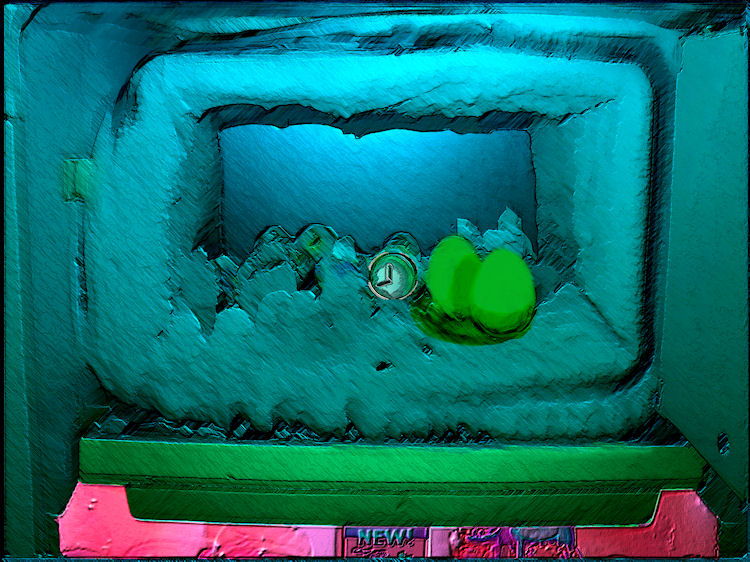 Surreal image of a frozen over freezer with eggs and clock representing time frozen