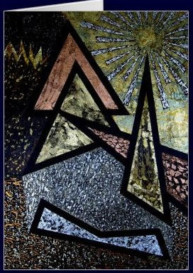View cards from art by Costa Rican artist William Solis. This one is called Elements.