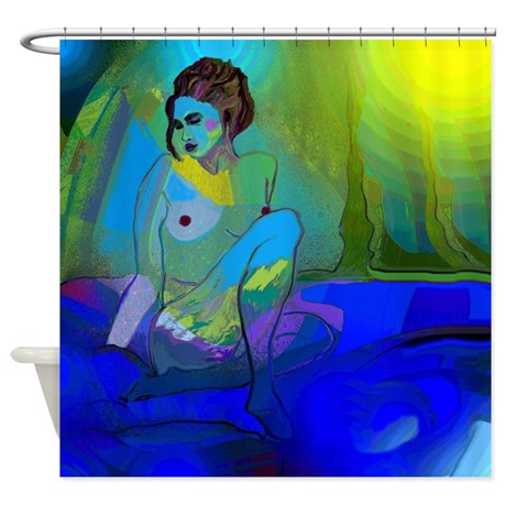 Blue Nude Shower Curtain