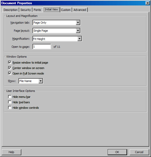 screen shot of initial view settings in Acrobat