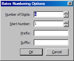 Dialog box for Bates Numbering